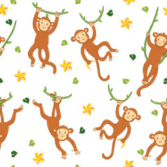 Seamless pattern with monkeys on vines and with flowers on a white background. Vector graphics