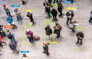 App scanning and tracking blurred people for Coronavirus prevention in city center - Software against Covid-19 outbreak - Big data, privacy, immune, healthy and infected concept - Defocused photo