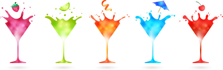 Wall Mural - fruit falling into a group of splashing colorful cocktails isolated on white