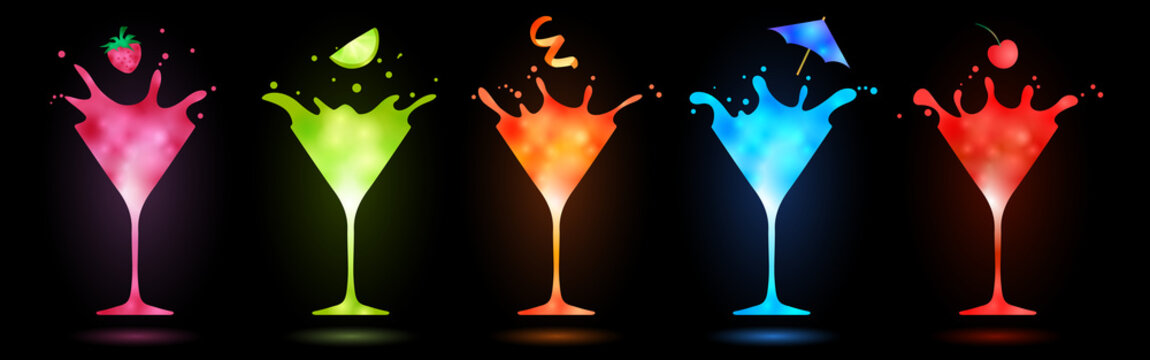 colorful cocktails in martini glasses splashing on black background