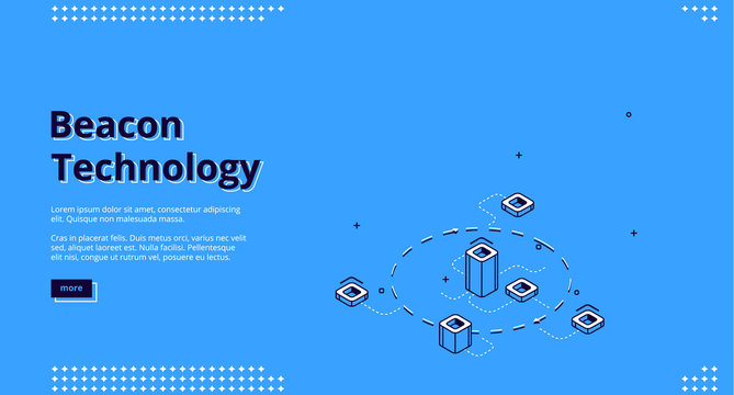Beacon technology isometric web banner with abstract elements connected with dotted lines. Internet of things, communication network, wireless connection, iot. 3d vector landing page in line art style