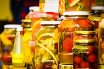 Foto op Aluminium Londen Jars with pickled vegetables