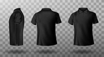 Men black polo shirt front and back view. Vector realistic mockup of male blank t-shirt with collar and short sleeves, sport or casual apparel isolated on transparent background Fotobehang