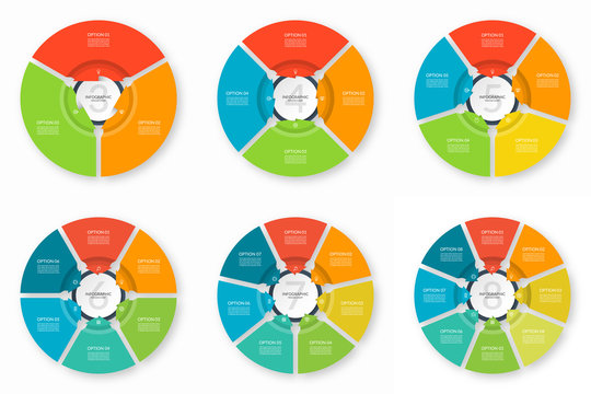Set of infographic process charts. Circular design templates with 3, 4, 5, 6, 7, 8 arrows pointing to the center. Cycle diagrams that can be used for report, data visualization and presentation.