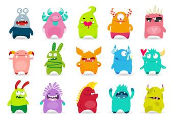 Obraz Set of funny cute monsters. Cartoon vector illustration - fototapety do salonu