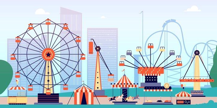 Amusement park. Fun fair, circus entertainment or carnival. Recreation with roller coaster and ferris wheel. Vector fairground background. Illustration entertainment carnival, amusement park zone