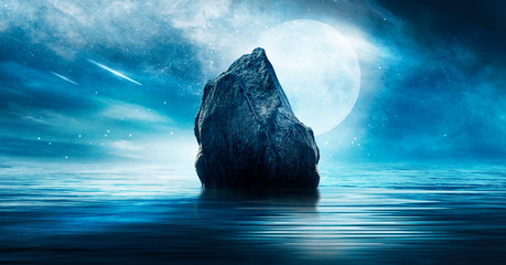 Fotomurales - Night futuristic landscape. Reflection of the moon on sea water. Large stones, rocks on the shore, shells. Blue abstraction. Rays of meteorites, neon blue light. Night landscape, island.