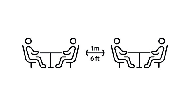 Social distancing in cafe. Distance of 1 meter/6 ft between the tables in cafe or restaurant. Keep a safe simple thin line icon vector illustration