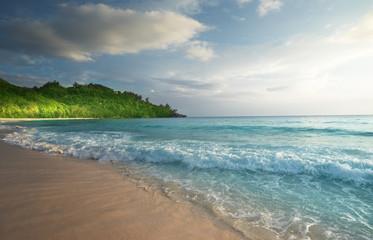 Fototapete - perfect sunset on Seychelles beach