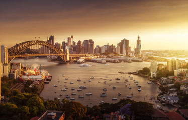 Foto En Lienzo - sunset,  Sydney harbor, New South Wales, Australia