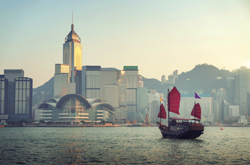 Fotomurales - Hong Kong harbour in sunset time
