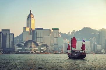 Foto En Lienzo - Hong Kong harbour in sunset time