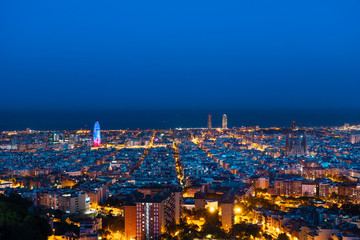 Fotomurales - Barcelona skyline,, after sunset, Spain