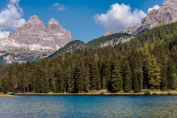 Wall Mural - Panoramic View Of Lake Misurna And Italian Dolomite Alps.