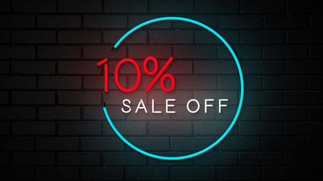 10% sale off neon sign promotion animated graphics in brick backgrounds
