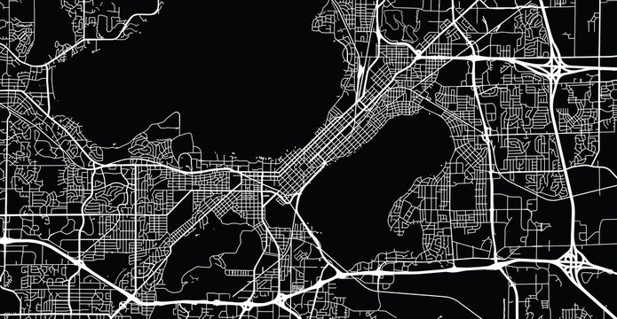Urban vector city map of Madison, USA. Wisconsin state capital