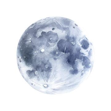 Hand drawn moon watercolor