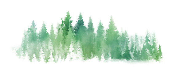 Watercolor Green landscape of foggy forest hill. Wild nature, frozen, misty, taiga. Horizontal watercolor background. Evergreen coniferous trees.