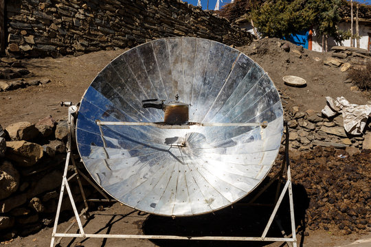 solar heater for cooking in the mountain villages of Nepal. Himalayas.