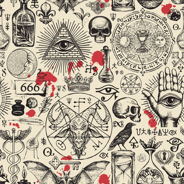 Vector seamless pattern on a theme of freemasonry, satanism and occultism in retro style. Abstract repeating illustration with hand-drawn sketches and blood drops on the old paper background