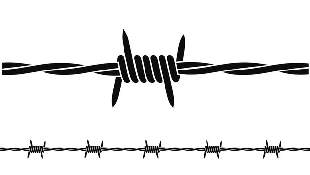 Barbed wire logo. Isolated barbed wire on white background