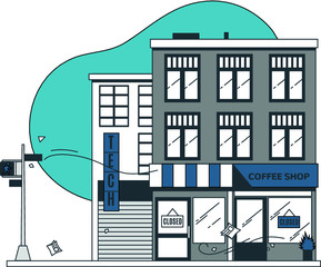Closed City and Shops during Corona Virus Quarantine