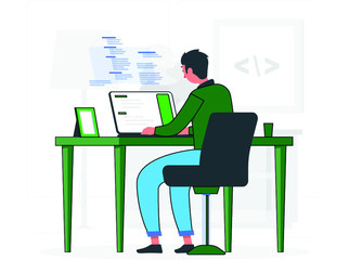 Programmer Doing Tasks on Computer and Studying at home