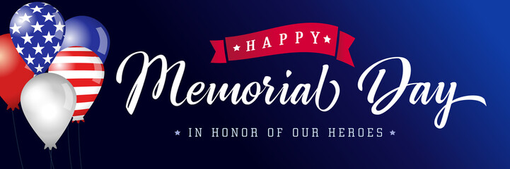 Happy Memorial Day blue poster USA, balloons with flags. Memorial Day background with american flag colors and typography. Vector illustration Wall mural