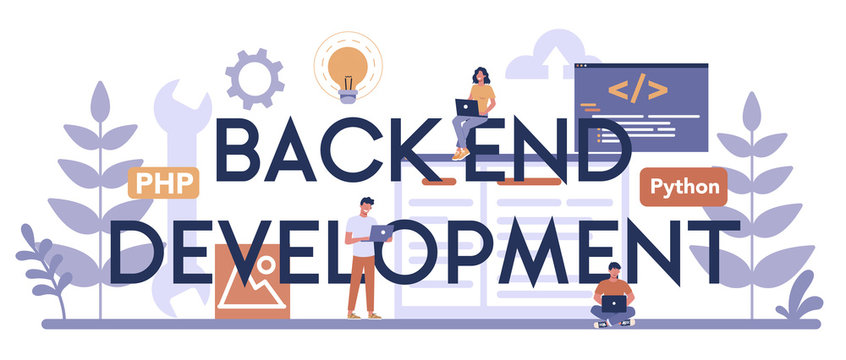 Back end development typographic header concept. Software