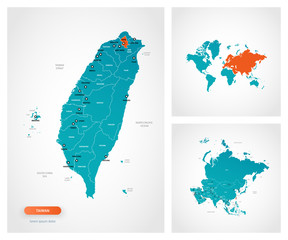 Editable template of map of Taiwan with marks.Taiwan on world map and on Asia map.