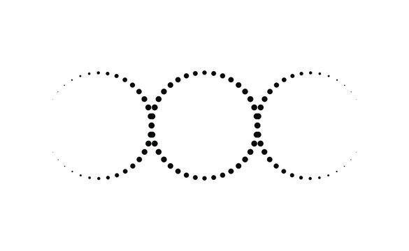 Abstract triple moon goddess dot work wiccan symbol. Tattoo design vector art illustration.