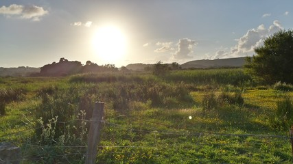 Foto auf AluDibond Dunkelgrau View Of Countryside Landscape Against The Sky