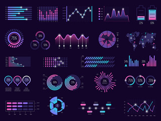 Business infographic. Charts futuristic graphs holographic bar ui panels dark theme vector template. Illustration holographic dashboard, digital graph futuristic, interface report