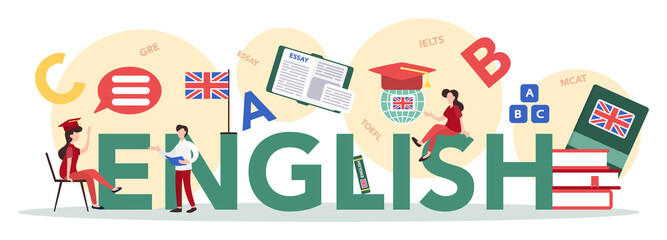 English course typographic header concept. Study foreign languages