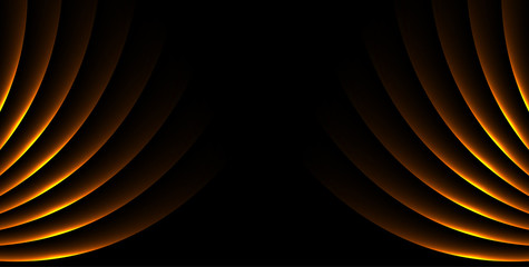 Fotobehang - Orange glowing laser lines abstract hi-tech neon background. Vector design