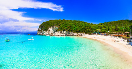 Greece holidays. One of the best beaches of Ionian islands - Vrika in Antipaxos with white sands and turquoise sea