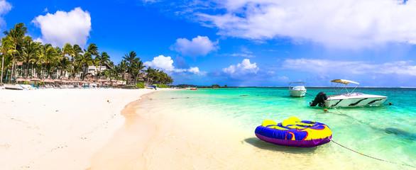 Splendid beaches of Mauritius island. Belle mare beach with water sport activities