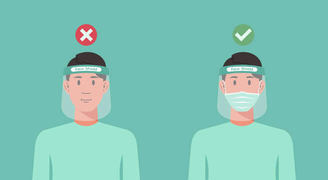 correct and wrong way to using protective medical face shield infographic concept, man wearing surgical mask inside to prevent COVID 19, virus protection, new normal, vector flat illustration