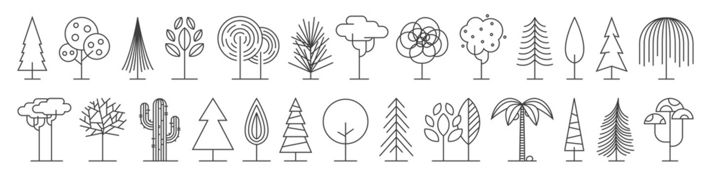 Big set of minimal trees linear icons - vector