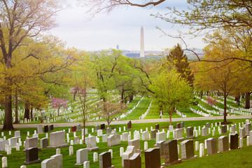 View on Washington Monument obelisk from Arlington cemetery VA, USA
