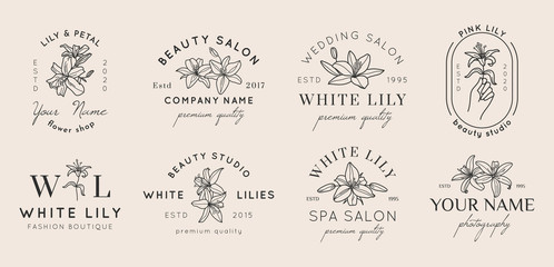 Set of Feminine logos with Lily flowers in simple minimal linear style. Vector floral emblem and icon