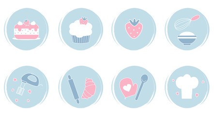 Vector set of logo design templates, icons and badges for social media highlights with cute bakery kitchen elements