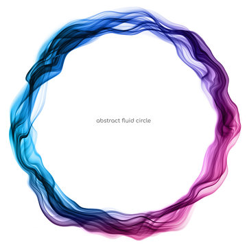 Abstract circle lines round ring frame by colorful transparent fluid flowing isolated on white background with empty space for text.