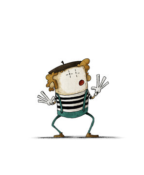 funny illustration of a mime with white painted face and striped t-shirt gesturing. isolated
