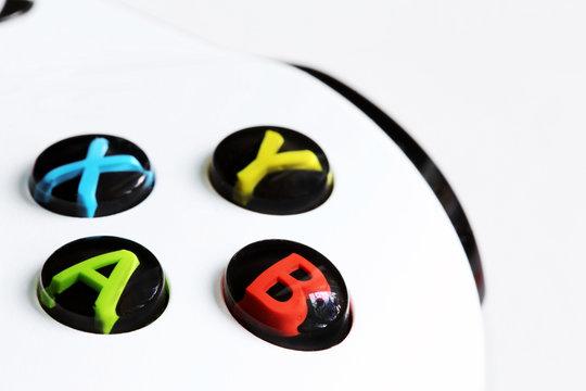 White xbox one controller closeup macro buttons joystick game pad