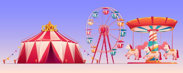 Amusement carnival park with circus tent clip art