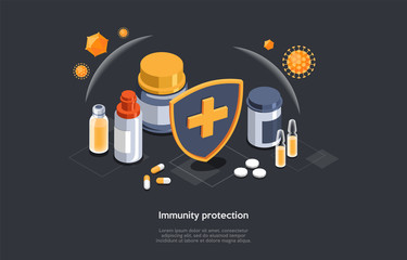 Isometric 3D Concept Of Immunity Protection And Weak Immune System Prevention. Diet Supplements, Vitamins With Sheild Of Viruses Around. Medical Prevention Human Germ. Cartoon Vector Illustration