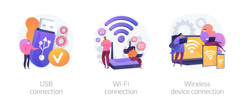 Remote connected devices. Wireless Internet router, modem, data storage device. USB connection, Wi-Fi distance device connection metaphors. Vector isolated concept metaphor illustrations.