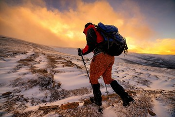 View Of Mountain Climber In Snow
