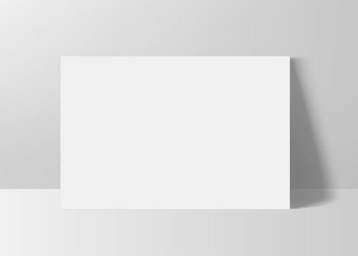 Horizontal rectangle A4 paper format mock up. Vector illustration.